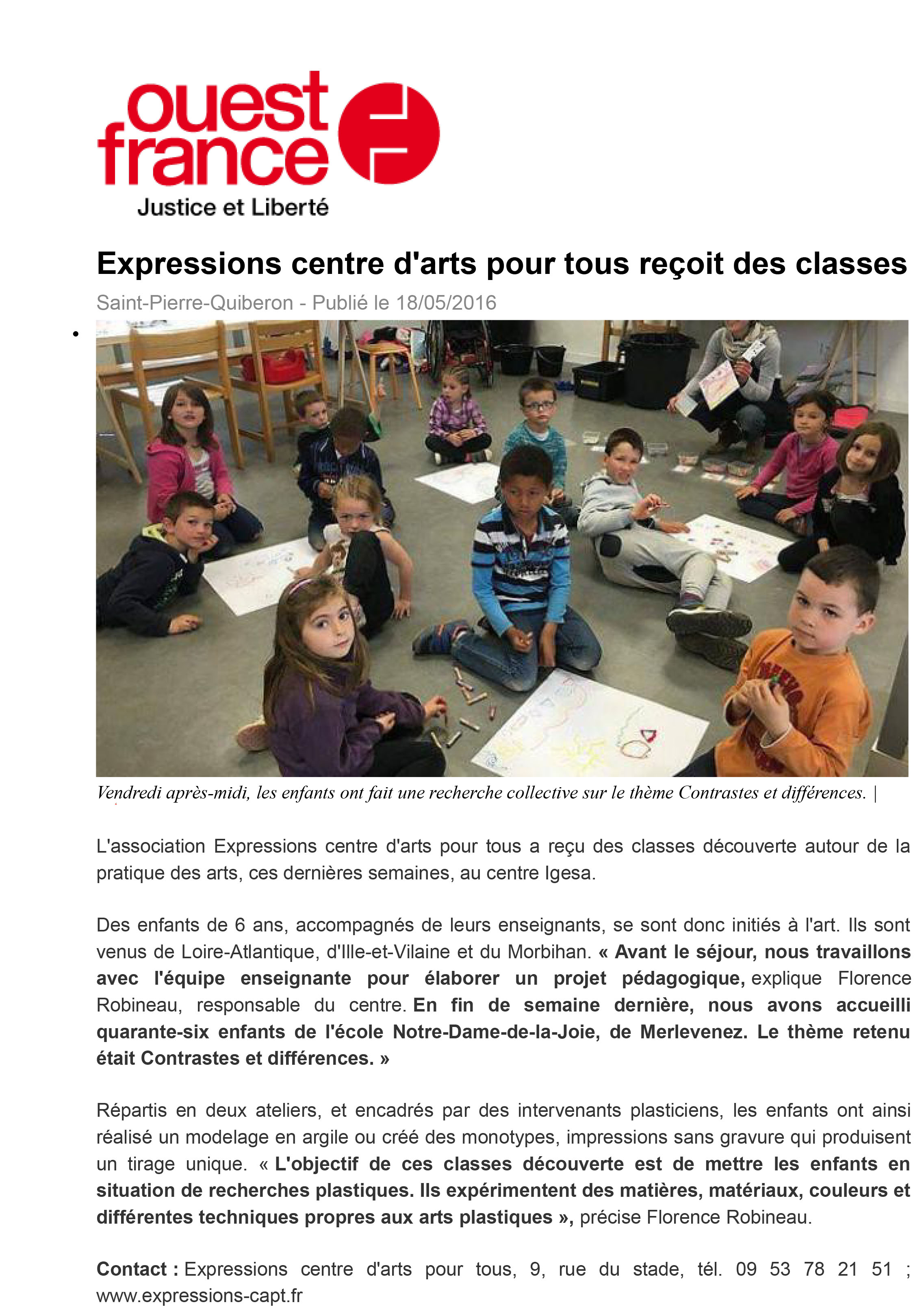 2016 05 18 ouest france classes decouvertes